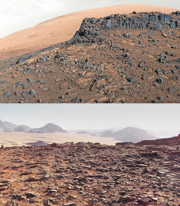 De to unge arkitekter indledte deres rumeventyr med en rejse til Wadi Rum-ørkenen i Jordan (nederst). Det er det sted på Jorden, som ligner forholdene på Mars (øverst) mest. FOTO: SAGA