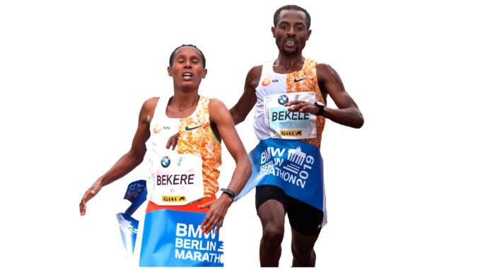 Både hos kvinderne og mændene sejrede etiopierne ved dette års Berlin Marathon. Tv. Ashete Bekere, th. Kenenisa Bekele. Foto: Ritzau Scanpix