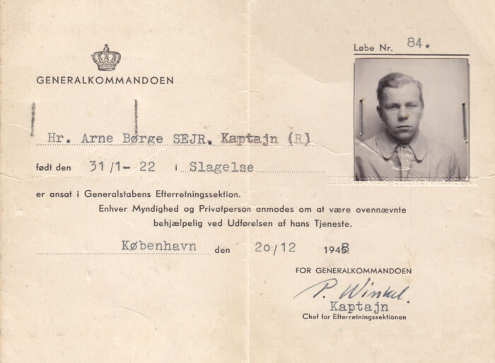 Arne Sejr tog kontakt til og fik Kjeld Olesen med i Firmaets antikommunistiske arbejde. Privat scan