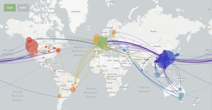 Forskersamarbejdet Nextstrain indsamler genetiske analyser af coronavirus fra hele verden. Illustration: Nextstrain.org