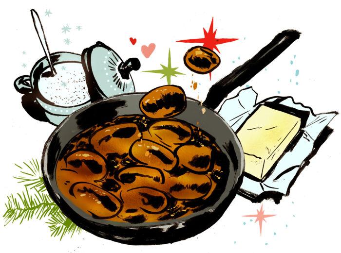 Ubrændte brunede kartofler